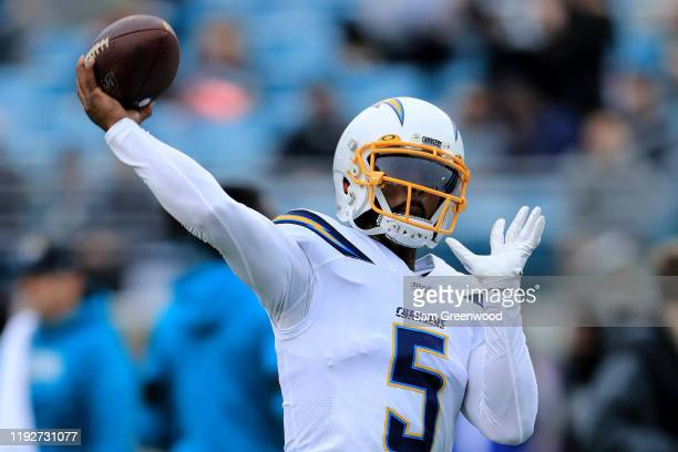 Tyrod Taylor of the Los Angeles Chargers warms up prior to the game against the Jacksonville Jaguars at TIAA Bank Field on December 08, 2019 in...