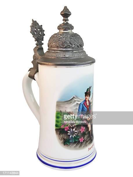 tyrolean beer tankard - beer stein stock photos and pictures