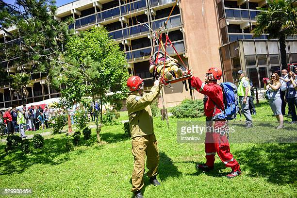 Tyrolean traverse Rescue. Excersise demonstration