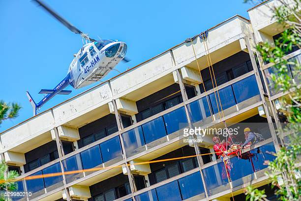 Tyrolean traverse Rescue.  MedVac helicopter. Excersise demonstration