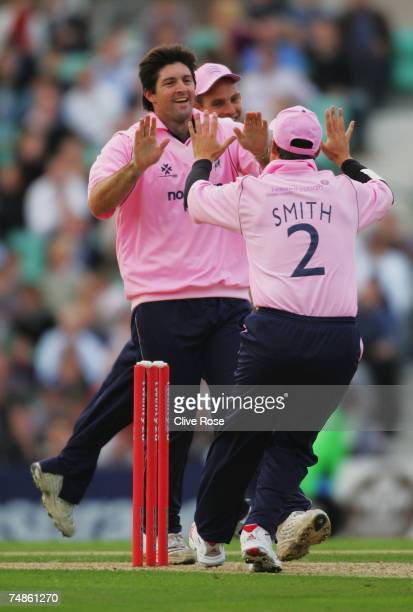 Tyron Henderson of Middlesex celebrates the wicket of Mark Butcher of Surrey during the Twenty20 Cup match between Surrey and Middlesex at the Brit...