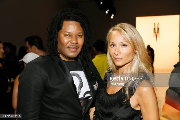 TyRon Mayes and Indira Cesarine attend the Victoria Hayes front row during New York Fashion Week The Shows at Gallery II at Spring Studios on...