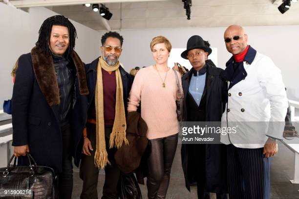 TyRon Mayes Carlton Jones Claudia Paul Jamal Abdourahman and Alton Barber pose backstage at the Global Fashion Collective At New York Fashion Week...