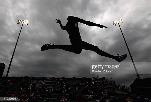 Tyron Stewart competes in the Men's Long Jump finals on day four of the 2013 USA Outdoor Track & Field Championships at Drake Stadium on June 23,...