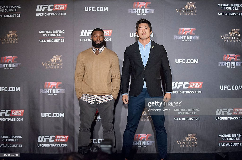 Tyron Woodley and Dong Hyun Kim at a face offs event during the Macao UFC Fight Night Press Conference at the Four Season Hotel on August 20, 2014 in Hong Kong.
