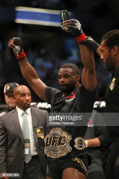 Tyron Woodley celebrates after his unanimousdecision victory over Demian Maia of Brazil in their UFC welterweight championship bout during the UFC...