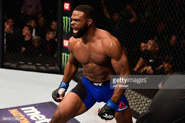 Tyron Woodley celebrates after knocking out Robbie Lawler in their welterweight championship bout during the UFC 201 event on July 30 2016 at Philips...