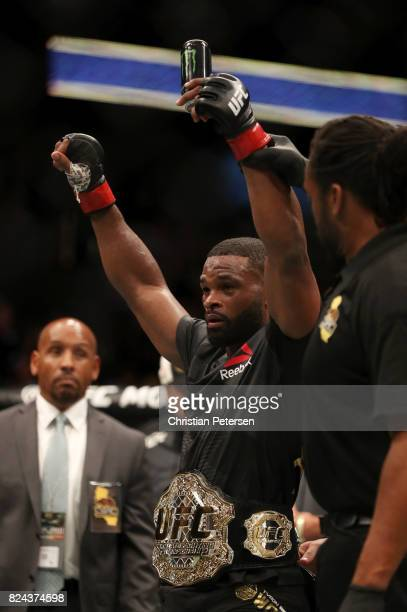 Tyron Woodley celebrates defeating Demian Maia of Brazil in their UFC welterweight championship bout during the UFC 214 event at Honda Center on July...