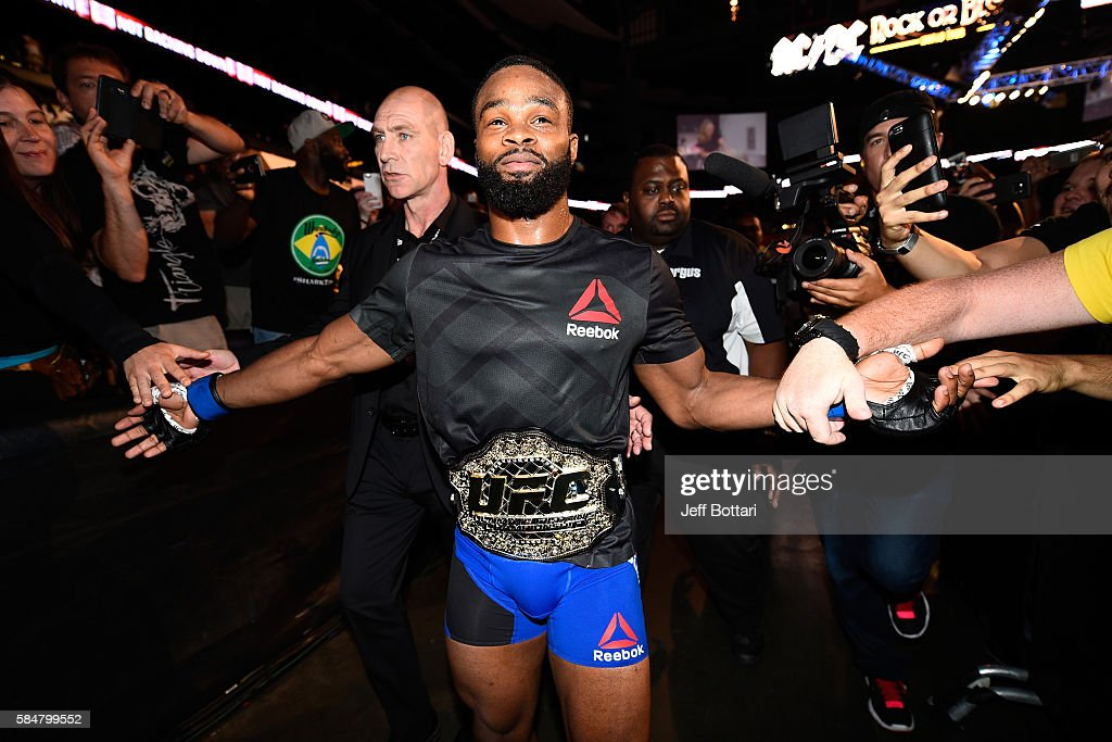Tyron Woodley celebrates his knockout victory over Robbie Lawler in their welterweight championship bout during the UFC 201 event on July 30, 2016 at Philips Arena in Atlanta, Georgia.