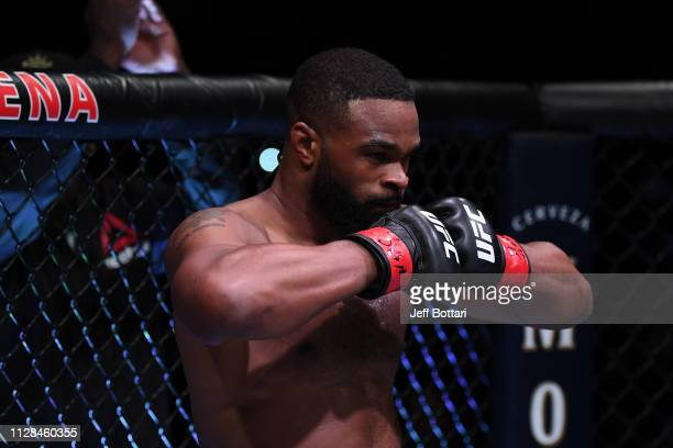 Tyron Woodley enters the octagon to start his UFC welterweight championship bout during the UFC 235 event at T-Mobile Arena on March 2, 2019 in Las...