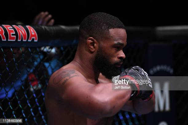 Tyron Woodley enters the octagon to start his UFC welterweight championship bout during the UFC 235 event at TMobile Arena on March 2 2019 in Las...