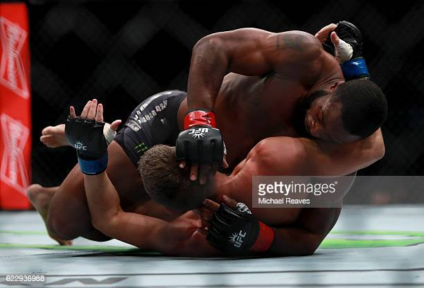 Tyron Woodley of the United States fights against Stephen Thompson of the United States in their welterweight championship bout during the UFC 205...