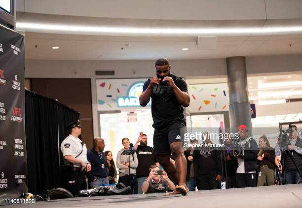 Tyron Woodley performs in front of a crowd during the UFC Fight Night Open Workouts event at the Mall of America on May 2 2019 in Minneapolis...
