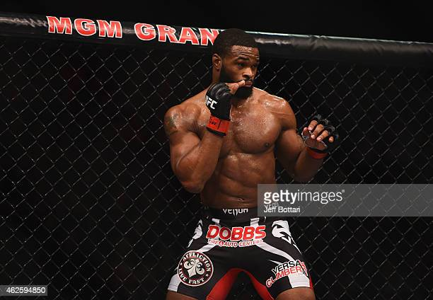 Tyron Woodley prepares to face Kelvin Gastelum in their welterweight bout during the UFC 183 event at the MGM Grand Garden Arena on January 31 2015...