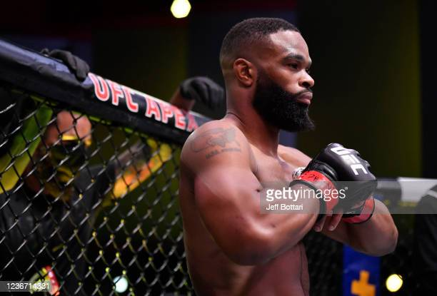 Tyron Woodley prepares to fight Gilbert Burns of Brazil in their welterweight fight during the UFC Fight Night event at UFC APEX on May 30, 2020 in...