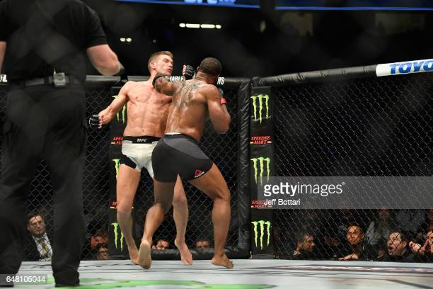 Tyron Woodley punches Stephen Thompson in their UFC welterweight championship bout during the UFC 209 event at TMobile Arena on March 4 2017 in Las...