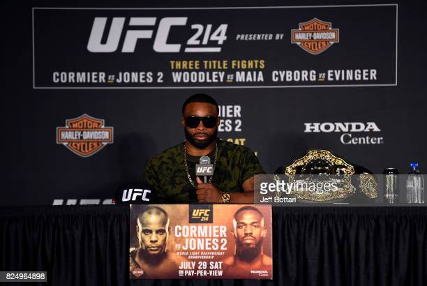 Tyron Woodley speaks to the media during the UFC 214 post fight press conference inside the Honda Center on July 29 2017 in Anaheim California