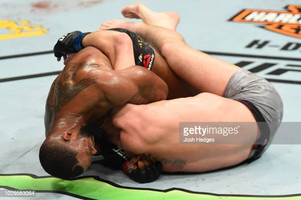 Tyron Woodley submits Darren Till of England in their UFC welterweight championship fight during the UFC 228 event at American Airlines Center on...