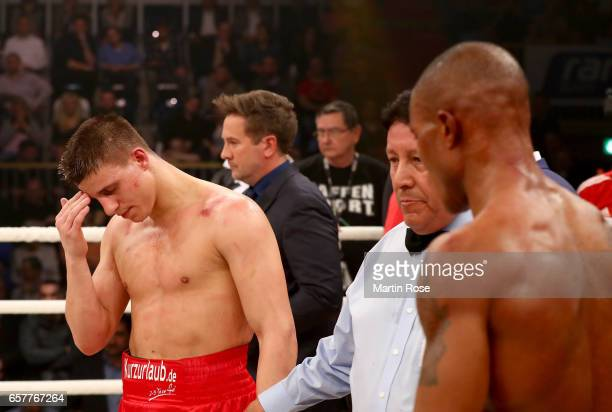 Tyron Zeuge of Germany reacts after theWBA super middleweight championship title fight at MBS Arena on March 25 2017 in Potsdam Germany