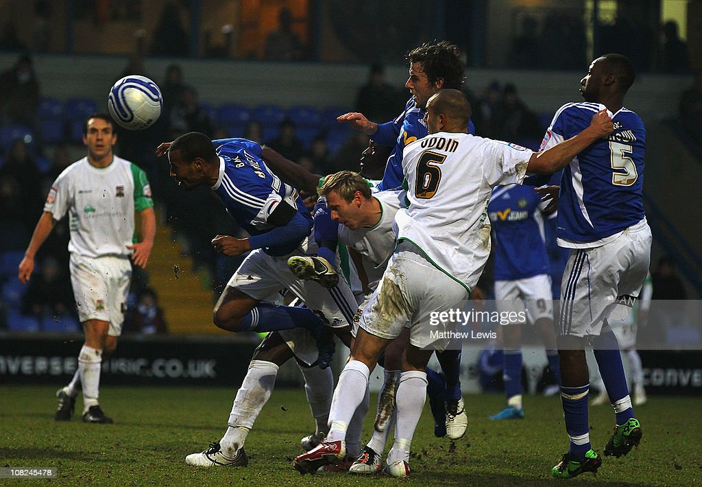 Tyrone Barnett of Macclesfield heads the ball towards the goal during the npower League Two match between Macclesfield Town and Barnet at the Moss Rose Stadium on January 22, 2011 in Macclesfield, England.
