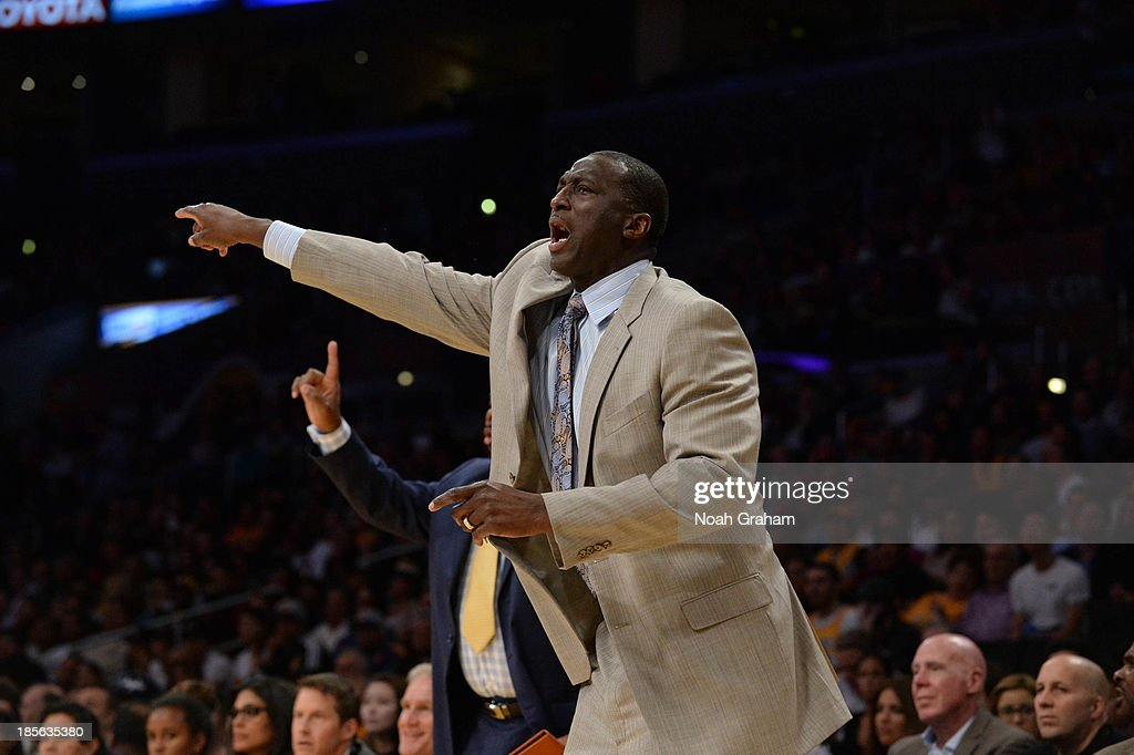 Tyrone Corbin of the Utah Jazz directs his team against the Los Angeles Lakers at Staples Center on October 22, 2013 in Los Angeles, California.