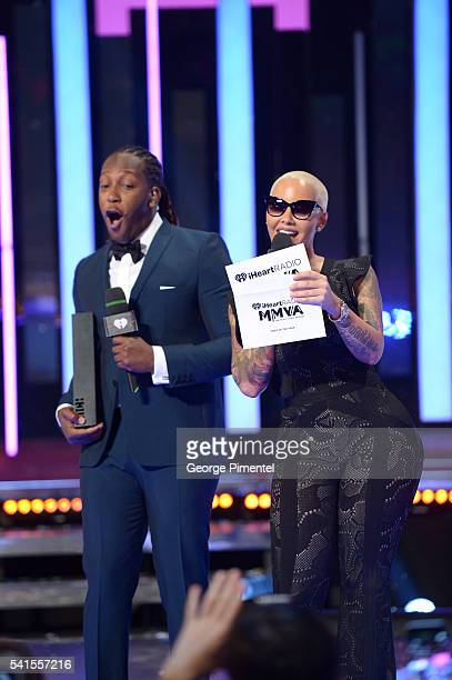Tyrone Edwards and Amber Rose present at the 2016 iHeartRADIO MuchMusic Video Awards at MuchMusic HQ on June 19 2016 in Toronto Canada