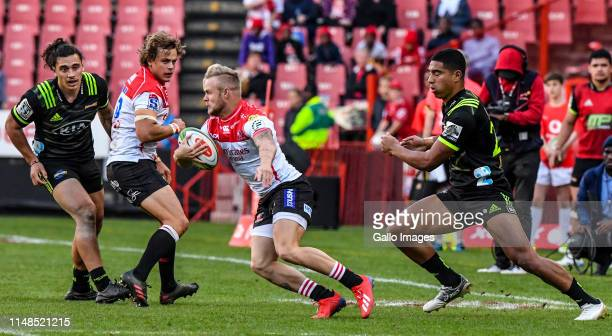 Tyrone Green of the Lions during the Super Rugby match between Emirates Lions and Hurricanes at Emirates Airline Park on June 08, 2019 in...