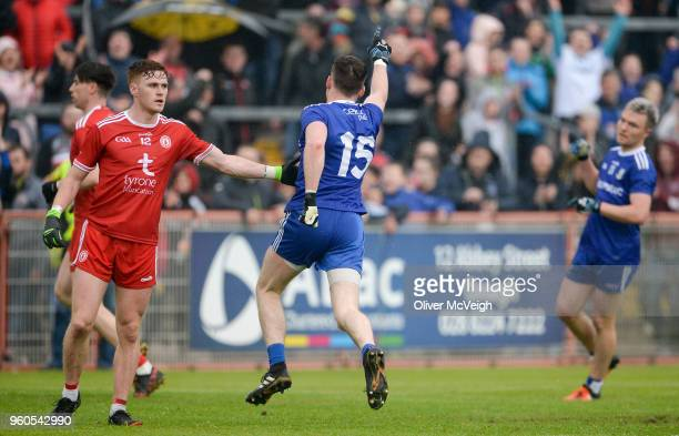 Tyrone Ireland 20 May 2018 Conor McManus of Monaghan celebrates after scoring a last minute point near the end of the Ulster GAA Football Senior...