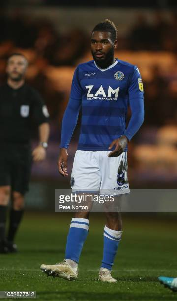 Tyrone Marsh of Macclesfield Town in action during the Sky Bet League Two match between Macclesfield Town and Northampton Town at Moss Rose Ground on...