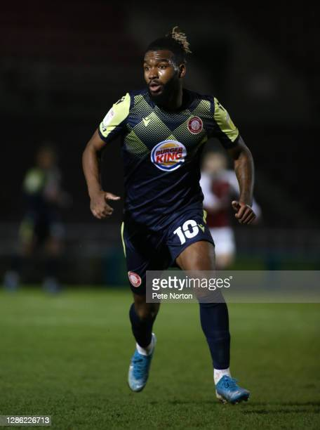 Tyrone Marsh of Stevenage in action during the Papa John's Trophy match between Northampton Town and Stevenage at PTS Academy Stadium on November 17...