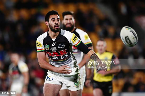 Tyrone May of the Panthers in action during the round 19 NRL match between the New Zealand Warriors and the Penrith Panthers at Mt Smart Stadium on...
