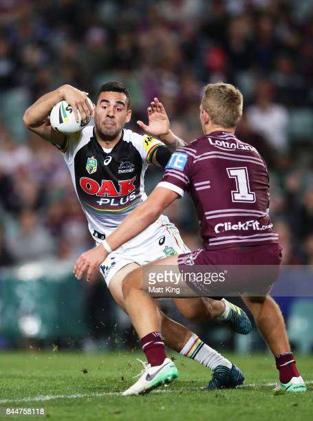 Tyrone May of the Panthers runs at Tom Trbojevic of the Sea Eagles during the NRL Elimination Final match between the Manly Sea Eagles and the...