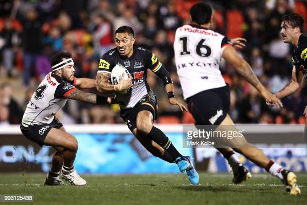 Tyrone May of the Panthers runs the ball during the round 17 NRL match between the Penrith Panthers and the New Zealand Warriors at Panthers Stadium...
