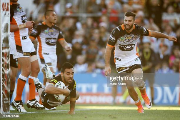 Tyrone May of the Panthers scores a try which was disallowed by the NRL bunker during the round 22 NRL match between the Penrith Panthers and the...