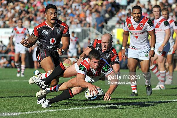 Tyrone McCarthy of St George Illawarra scores during the NRL Trial match between the New Zealand Warriors and the St George Illawarra Dragons at...