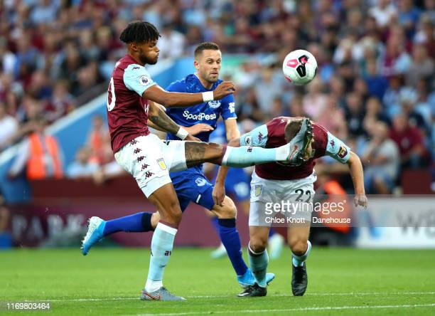 Tyrone Mings and Bjorn Engels of Aston Villa collide during the Premier League match between Aston Villa and Everton FC at Villa Park on August 23,...