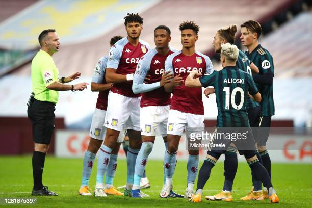 Tyrone Mings Ezri Konsa and Ollie Watkins prepare for a corner during the Premier League match between Aston Villa and Leeds United at Villa Park on...