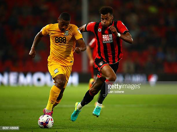 Tyrone Mings of AFC Bournemouth and Chris Humphrey of Preston North End in action during the EFL Cup Third Round match between AFC Bournemouth and...