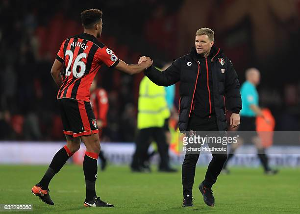 Tyrone Mings of AFC Bournemouth and Eddie Howe Manager of AFC Bournemouth shake hands after the Premier League match between AFC Bournemouth and...