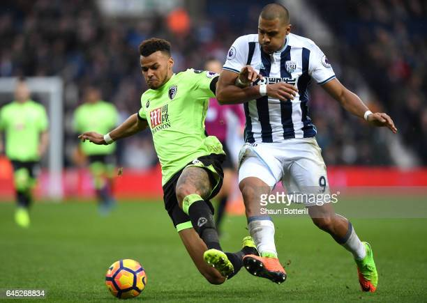 Tyrone Mings of AFC Bournemouth and Jose Salomon Rondon of West Bromwich Albion battle for possession during the Premier League match between West...