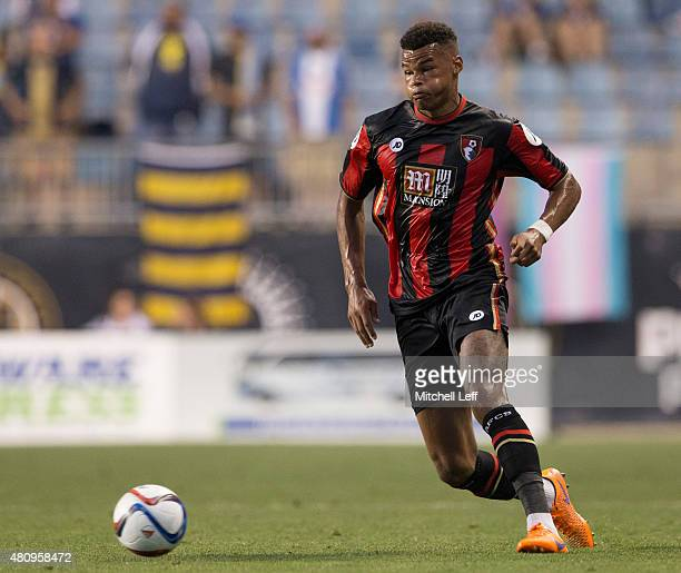 Tyrone Mings of AFC Bournemouth controls the ball in the friendly match against the Philadelphia Union on July 14 2015 at the PPL Park in Chester...