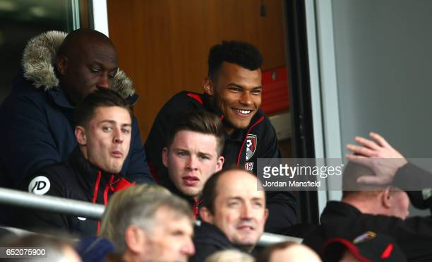 Tyrone Mings of AFC Bournemouth is seen in the stands during the Premier League match between AFC Bournemouth and West Ham United at Vitality Stadium...