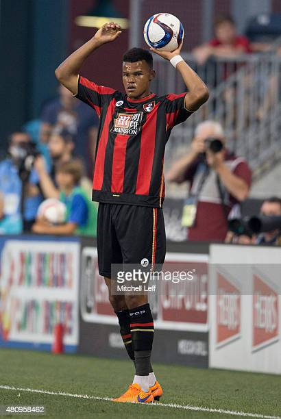 Tyrone Mings of AFC Bournemouth throws the ball in the friendly match against the Philadelphia Union on July 14 2015 at the PPL Park in Chester...