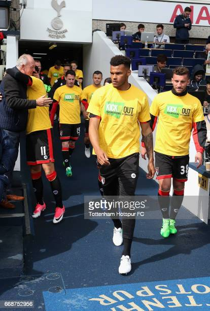 Tyrone Mings of AFC Bournemouth walks out of the tunnel to warm up prior to the Premier League match between Tottenham Hotspur and AFC Bournemouth at...