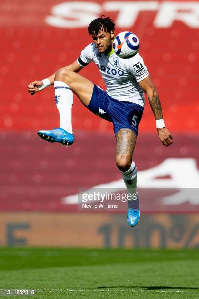 Tyrone Mings of Aston in action during the Premier League match between Liverpool and Aston Villa at Anfield on April 10, 2021 in Liverpool, England....