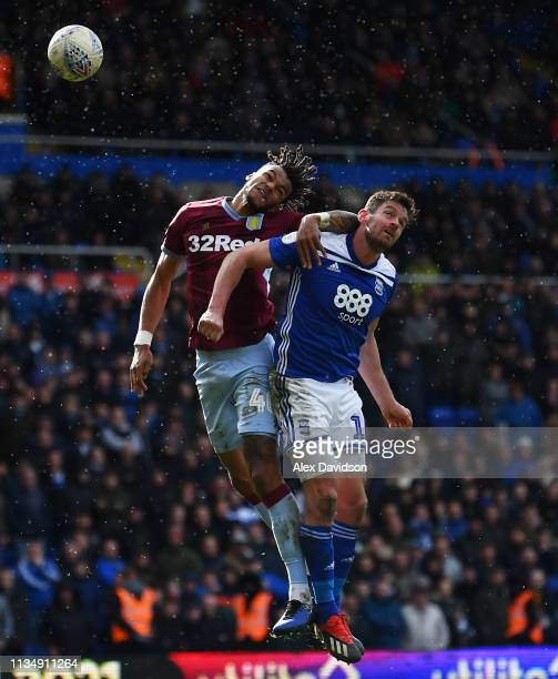 Tyrone Mings of Aston Villa and Lukas Jutkiewicz of Birmingham City compete for the ball in the air during the Sky Bet Championship match between...