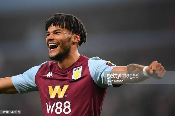 Tyrone Mings of Aston Villa celebrates after scoring their second goal during the Premier League match between Aston Villa and Watford FC at Villa...