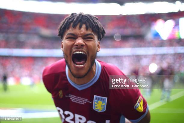 Tyrone Mings of Aston Villa celebrates winning the Sky Bet Championship PlayOff Final match between Aston Villa and Derby County at Wembley Stadium...