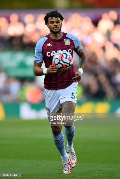 Tyrone Mings of Aston Villa chases down the ball during the Premier League match between Aston Villa and Wolverhampton Wanderers at Villa Park on...