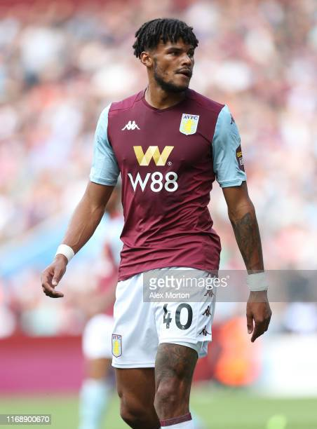 Tyrone Mings of Aston Villa during the Premier League match between Aston Villa and AFC Bournemouth at Villa Park on August 17 2019 in Birmingham...